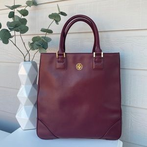 Tory Burch Large Leather Robinson Burgundy Tote